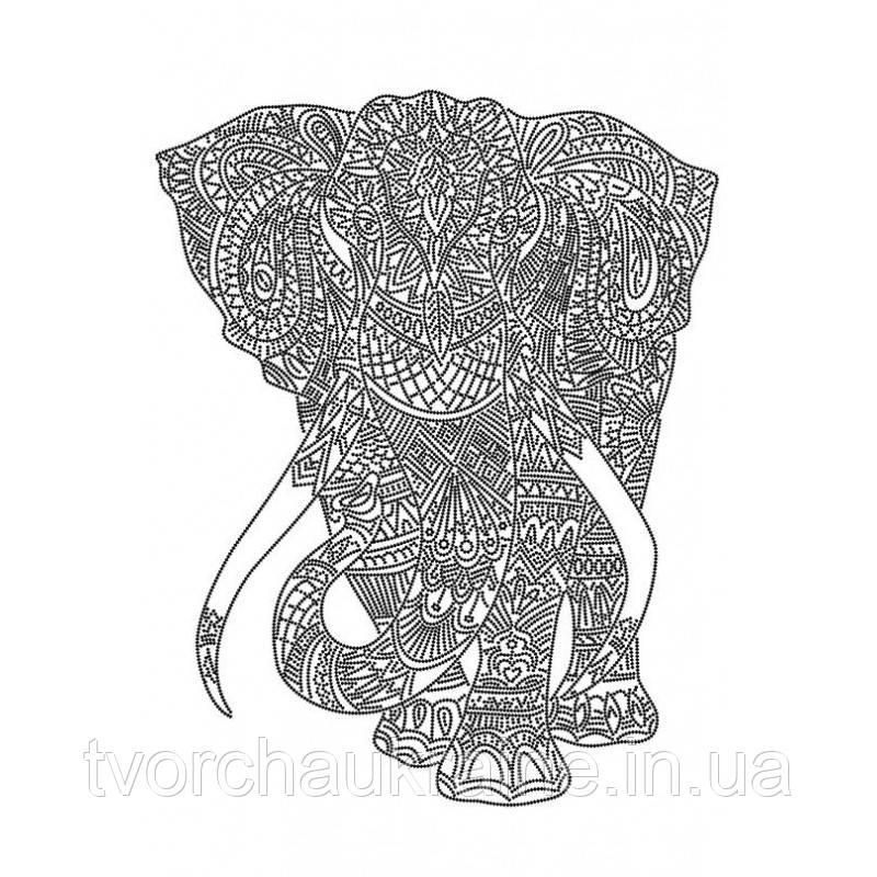 Схема на ткани для вышивания бисером Слон (на белом)