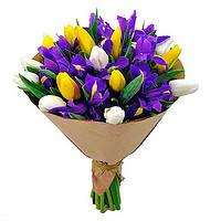 """Букет тюльпан с ирисом """"Весенний"""""""