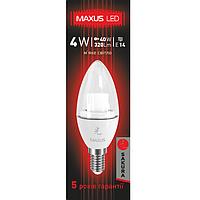 LED лампа MAXUS 4W 3000K C37 Е14 220V (1-LED-329)