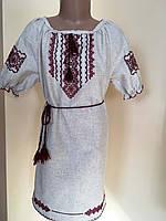 Сукня для дівчинки на сірому льоні ручна робота