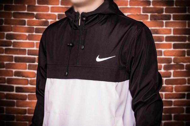 Куртка анорак Nike President черно-белая топ реплика