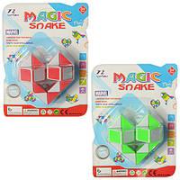 Игра 236-1 головоломка, змейка, 2 цвета, на листе, 12-16-5см