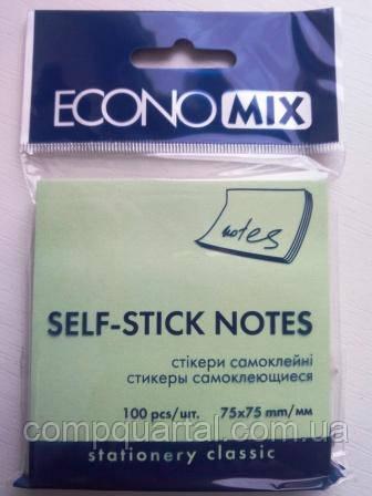 Папір для нотаток з клейкою смужкою ECONOMIX 20932-13 75Х75мм 100 аркушів Зелені пастельні