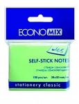 Папір для нотаток з клейкою смужкою ECONOMIX 20930-13 38Х50мм 100 аркушів Салатовий