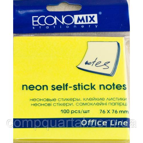 Папір для нотаток з клейкою смужкою ECONOMIX 20944-05 76Х76мм 100 аркушів Неон жовті