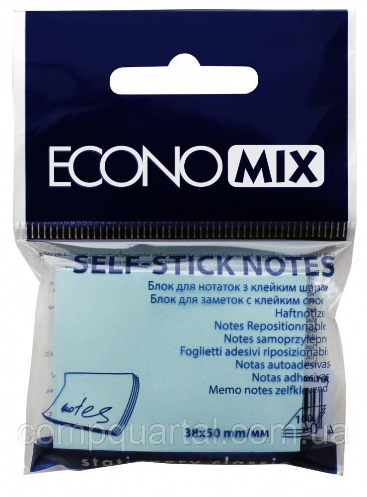 Папір для нотаток з клейкою смужкою ECONOMIX 20930-11 38Х50мм 100 аркушів Блакитні