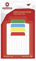 Папір для нотаток з клейкою смужкою OPTIMA 25524 70Х70мм 100 аркушів 4 кольори Неон