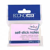 Папір для нотаток з клейкою смужкою ECONOMIX 20930-09 38Х50мм 100 аркушів Рожеві