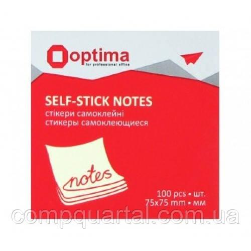 Папір для нотаток з клейкою смужкою OPTIMA 25503 75Х75мм 100 аркушів Жовті
