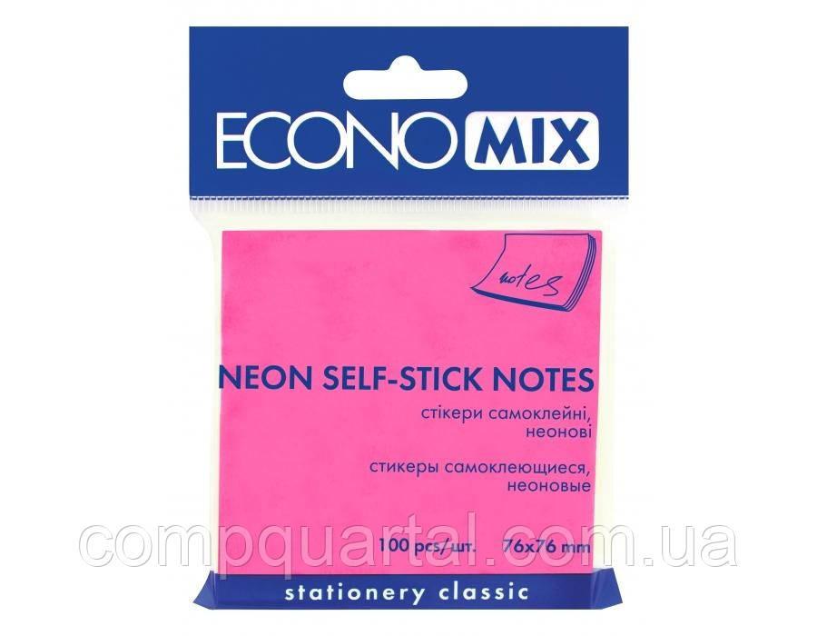Папір для нотаток з клейкою смужкою ECONOMIX 20944-47 76Х76мм 100 аркушів Неон малинові