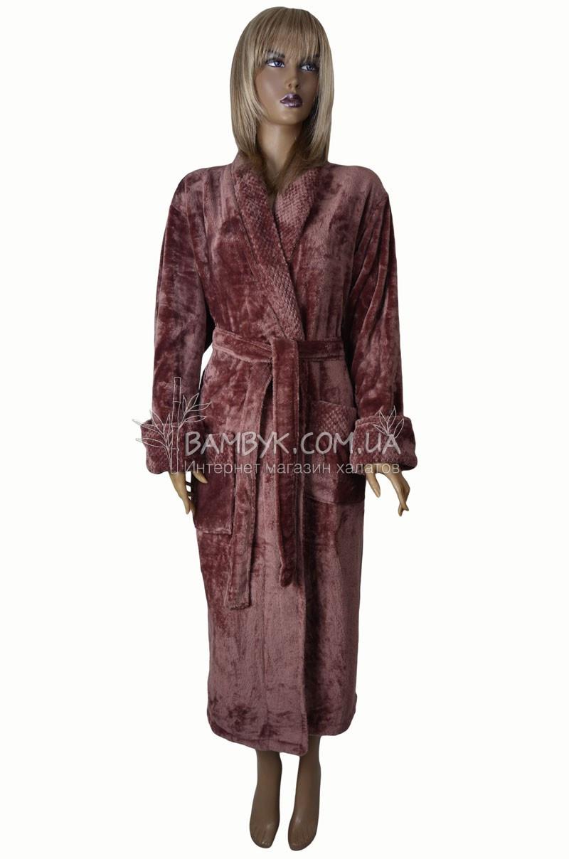 Теплый женский халат из микрофибры Nusa (гюлькурушу) №3640