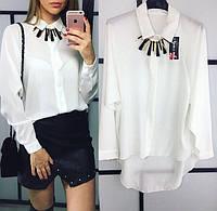 Рубашка женская из шифона с  украшением P5555