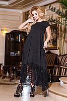 Красивое длинное платье - трапеция с гипюровым низом