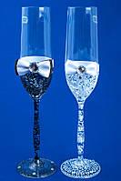 """Свадебные бокалы """"Glass bow"""" бело-черные"""