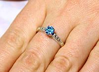 Кольцо серебро 925 проба 17.5 размер АРТ551 Голубой