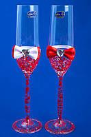 """Свадебные бокалы """"Glass bow"""" красные"""