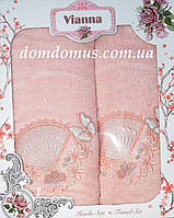 """Подарочный набор махровых полотенец 3D """"Бабочка"""" Vianna, розовый цвет"""
