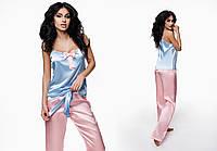 """Женская стильная пижама майка + брюки 982 """"Атлас Бантик"""" в расцветках"""