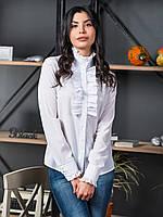 Элегантная женская белая блуза с жабо р.44,46,48