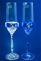 """Свадебные бокалы """"Glass bow"""" голубые с белым"""