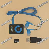 Портативный МР3 плеер зеркальный синего цвета + Micro SD карта на 4 гб.