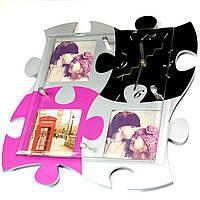 Мультирамка на 4 фото с оригинальными настенными часами