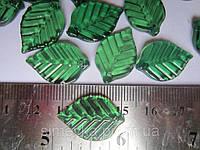 Листик-бусина акриловый (под стекло) пришивной 2,2*1,5 см, упаковка 5 шт., фото 1