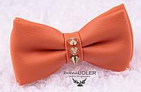 Галстук-бабочка кожзам оранж с шипами, фото 1