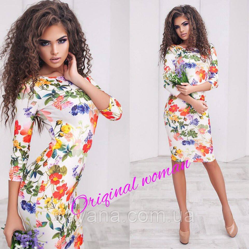 """Женское силуэтное платье """"Цветы"""", 2 цвета. Нв-7-0217"""