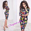 """Женское силуэтное платье """"Цветы"""", 2 цвета. Нв-7-0217, фото 2"""