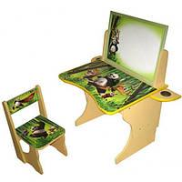 Парта со стулом регулируемая детская BABY ELIT Панда с двусторонним мольбертом