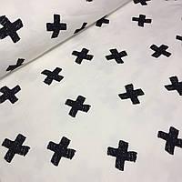 Футер черные крестики на айвори №0010