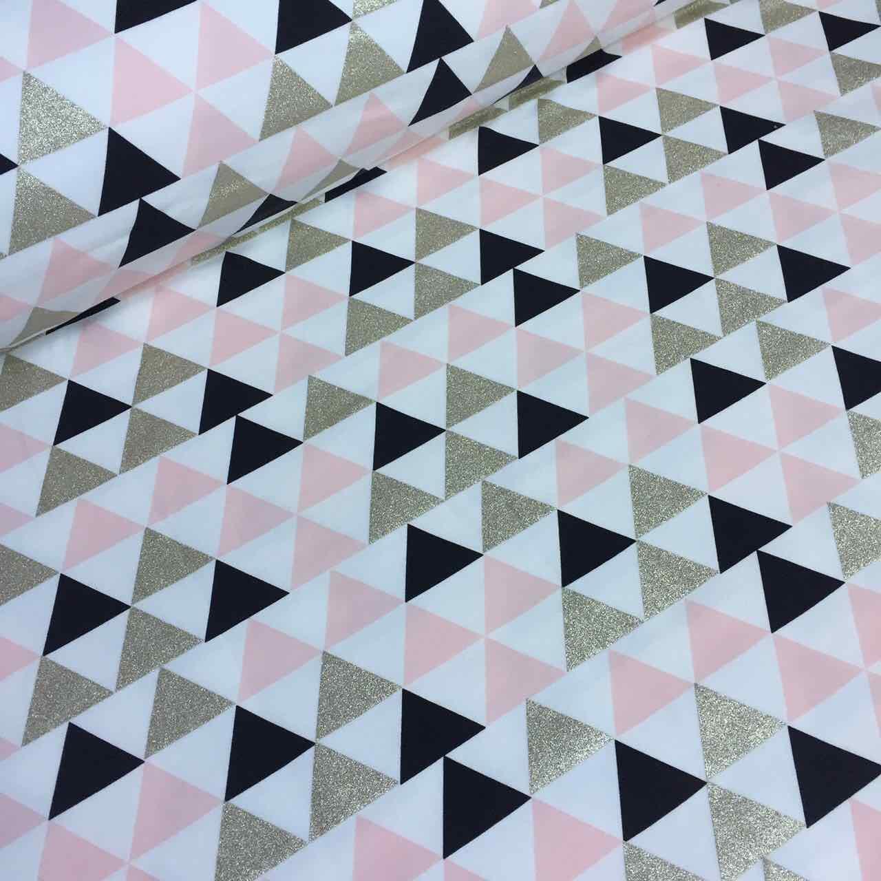 Футер с треугольниками золотого и розового цвкта на айвори №0012