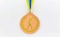 Медаль спортивная с лентой двухцветная d-6,5см Гимнастика C-4851-3 место (металл, покр. 2 тона, 56g)
