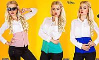 Шифоновая блузка рубашка двуцветная, размеры 42,44. Супер распродажа