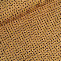 Лоскуток. Футер клетка на горчичном фоне  46*170 см. №0019