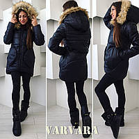 Зимняя женская куртка с натуральным мехом на капюшоне, мод 064