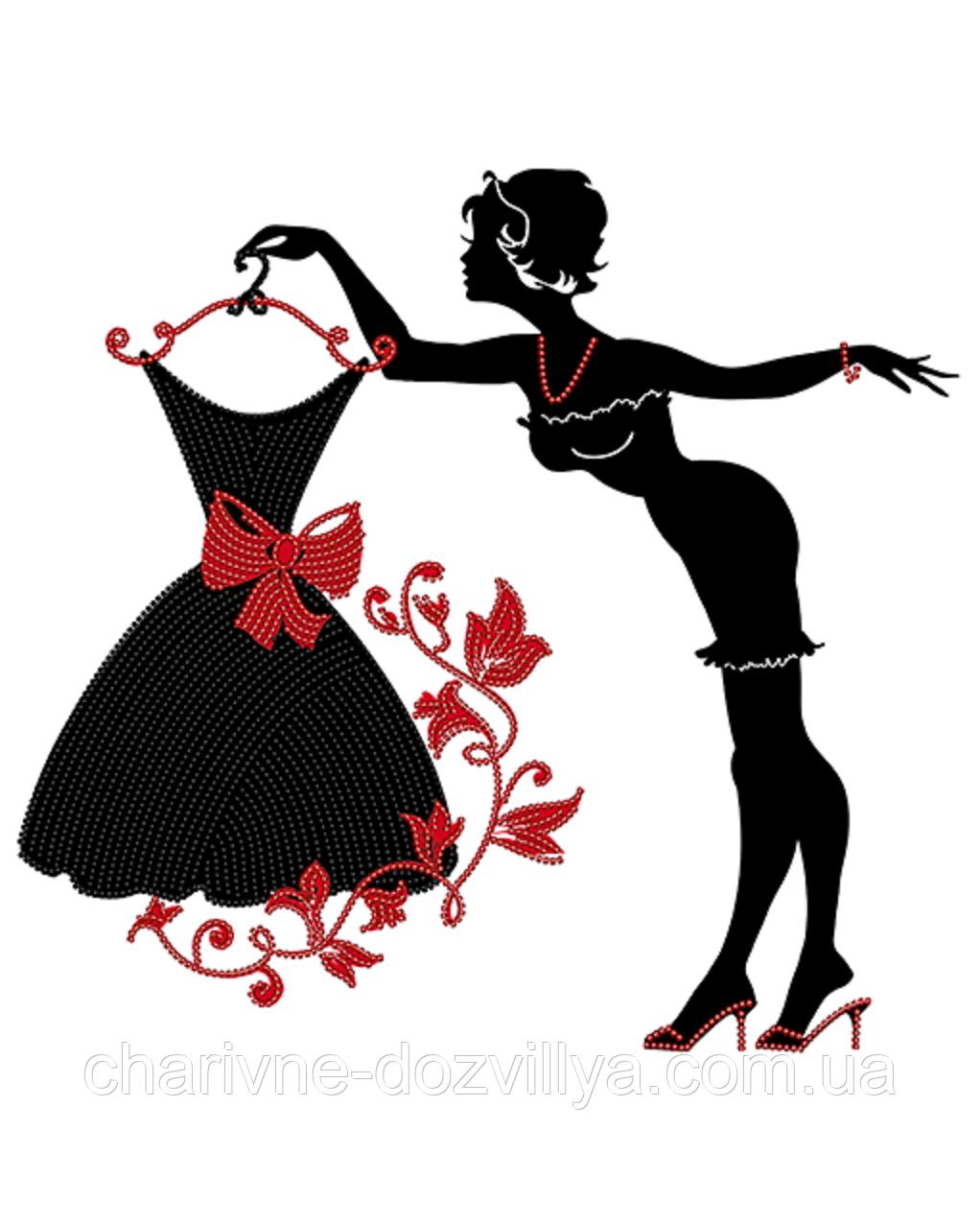 """Схема  для вышивки картины бисером на атласе """"Модница"""""""
