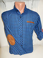 Рубашка SPORTSWEAR клетка мелкая,  рукав трансформер, с латками. 003 \ купить рубашку