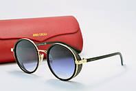Солнцезащитные очки круглые Jimmy Choo черные с золотом