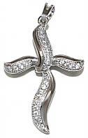 Крестик фирмы Xuping, цвет: серебряный. Камни: циркон. Высота крестика: 4 см. Ширина: 23 мм