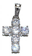 Крестик фирмы Xuping, цвет: серебряный. Камни: циркон. Высота крестика: 2,5 см. Ширина: 12 мм