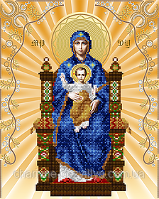 "Схема для вышивки бисером на атласе икона ""Богородица на престоле"" (золото)"