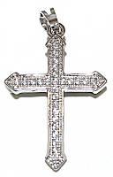 Крестик фирмы Xuping, цвет: серебряный. Камни: циркон. Высота крестика: 3,3 см. Ширина: 19 мм