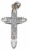 Крестик фирмы Xuping, цвет: серебряный. Камни: циркон. Высота крестика: 3,3 см. Ширина: 15 мм