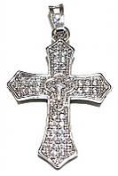 Крестик фирмы Xuping, цвет: серебряный. Камни: циркон. Высота крестика: 3,2 см. Ширина: 20 мм