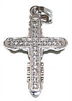 Крестик фирмы Xuping, цвет: серебряный. Камни: циркон. Высота крестика: 3,2 см. Ширина: 19 мм