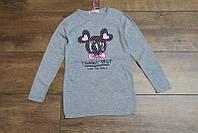 Трикотажная туника с карманами для девочек 4-6-8-10 лет Цвет малиновый, серый, лимонный