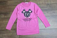 Трикотажная туника с карманами для девочек 4-6,12 лет Цвет малиновый, серый, лимонный