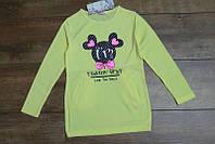 Трикотажная туника с карманами для девочек 4-6 лет Цвет малиновый, серый, лимонный